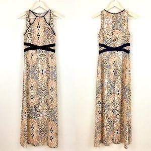 Yellow Abstract Print Long Maxi Dress